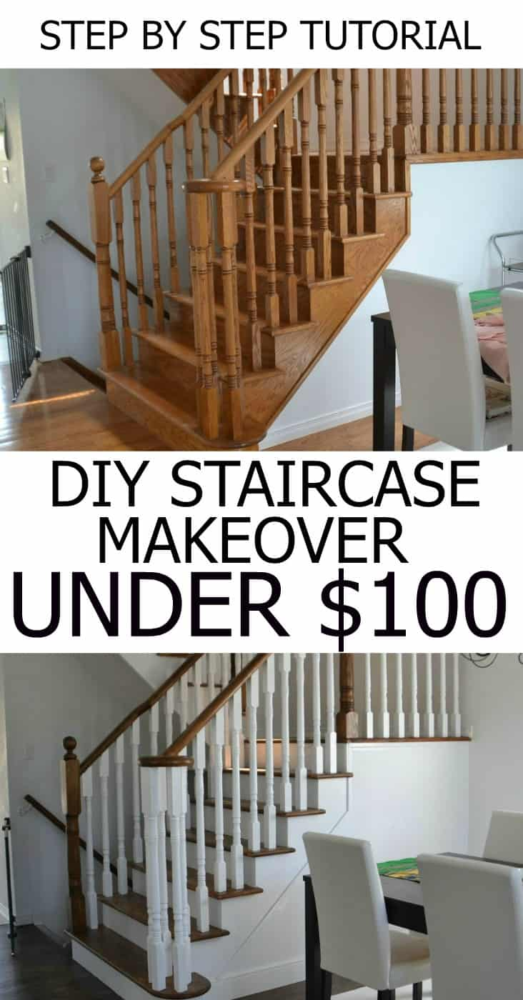 How to refinish and modernize your oak stairs for Diy staircase makeover