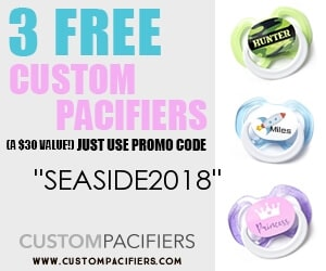 Free personalized pacifiers - Canadian baby freebies with code SEASIDE2018 at custompacifiers.com