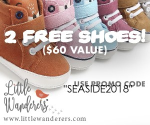 Free baby moc shoes - Canadian baby freebies with code SEASIDE2018 at littlewanderers.com