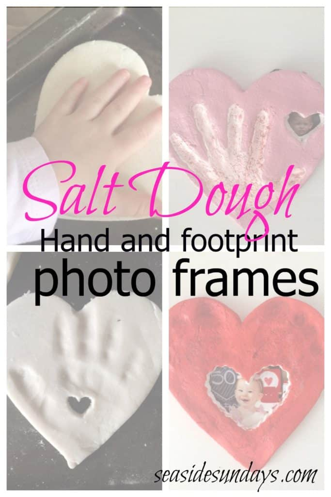 Cute salt dough photo frames using baby's hand or footprints via www.seasidesundays.com