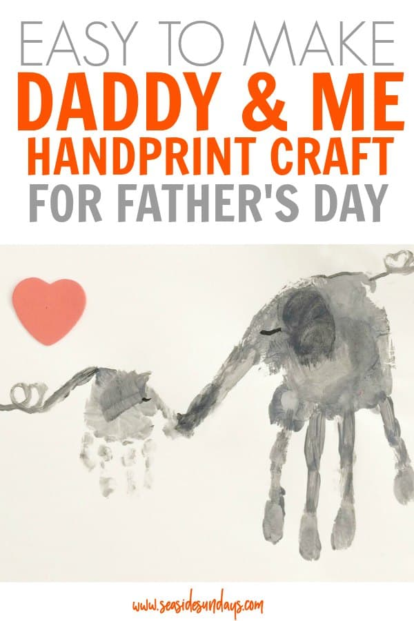 Father's Day craft for preschoolers! This handprint craft is so cute and perfect for moms and babies to make together! Would make a great Father's Day craft or framed picture. Simple toddler craft to make together, kids will love this fun activity