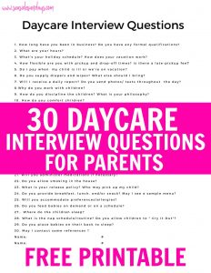 Questions to ask a home daycare provider at the interview. These questions are great for in home daycare providers