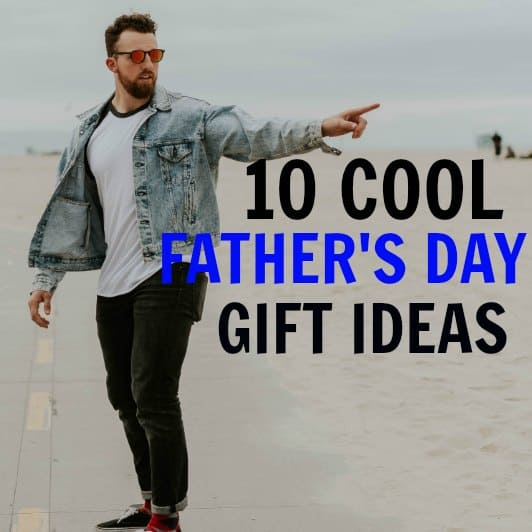 The best gifts for hipster dads. A dad with a beard on a skateboard in Venice beach