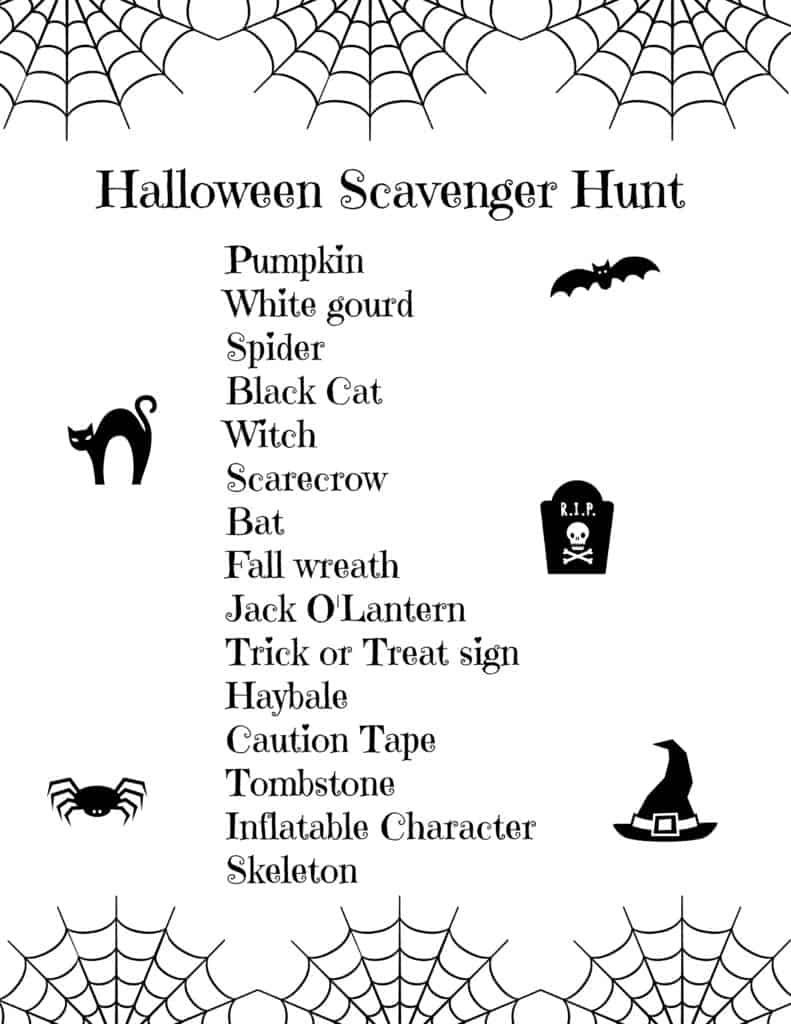 Fun Halloween scavenger hunt with free printable. Great Halloween party game or for trick or treating. This scavenger hunt is great for older kids or younger children as you can modify it to suit the ages and number of kids. Children will love running around the neighborhood looking at the Halloween decorations and displays. This is a fun outdoor activity for fall, get outside and make the most of the crisp fall weather.