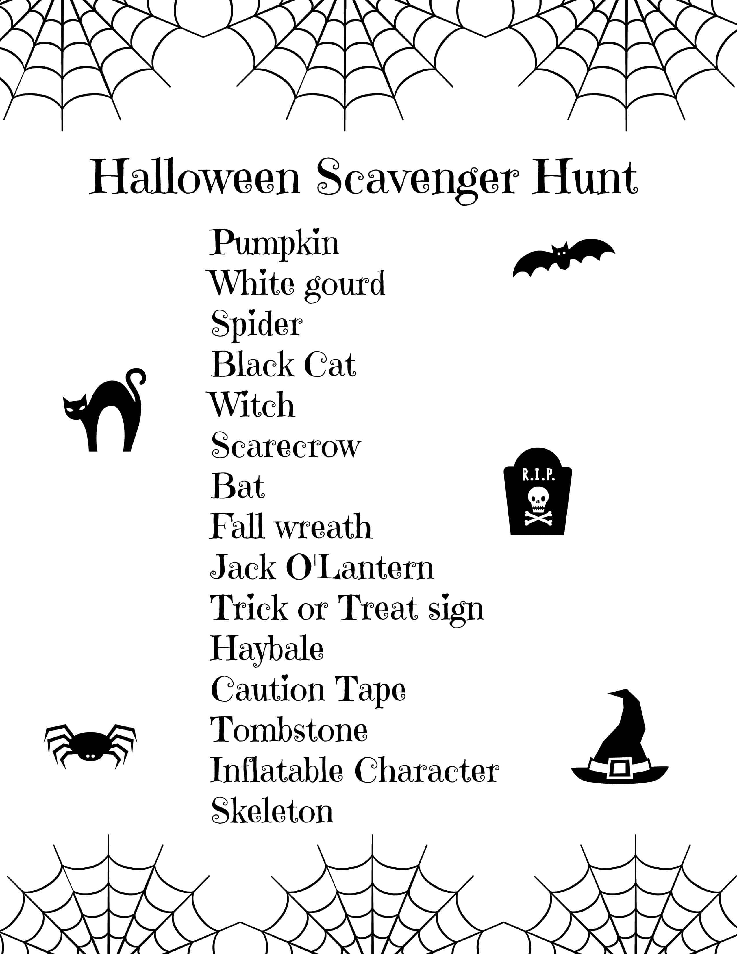 Free Printable Halloween Scavenger Hunt for Kids - Seaside Sundays