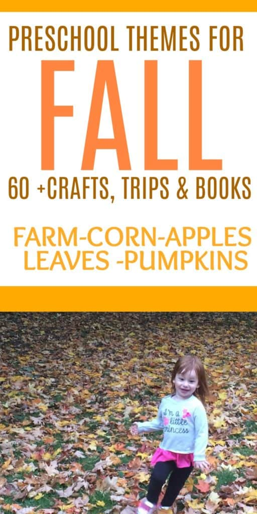 4 Fall preschool themes - apples, leaves, corn, farm and pumpkins. Books, outings and activities for each theme. This is a great list of frugal fall activities for toddlers and preschoolers. Most of these activities for kids are free or cheap! Have fun this autumn and make memories. Free printable checklist of things to do with the kids this fall. Apple picking, pumpkin patch, sensory bins, fall crafts, Halloween activities for kids. Fall baking and outdoor activities.