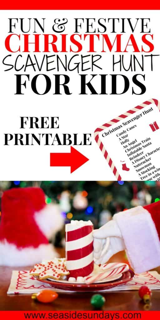 Fun Christmas scavenger hunt with free printable. Great Christmas activity for the whole family. This scavenger hunt is great for older kids or younger children as you can modify it to suit the ages and number of kids. Children will love running around the neighborhood looking at the Holiday decorations and displays. This is a fun holiday activity to get kids outdoors and activities