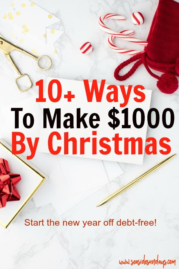 Make money for Christmas with these money making tips and tricks for staying debt-free and sticking to your holiday budget! Earn extra money in time for the holidays! Need some Christmas spending cash? Make money for Christmas with these side hustle ideas! You can make cash fast in time for Christmas with these money making tips! Get money saving tips to start the new year off debt free too! You can make money online or in your neighbourhood easily.