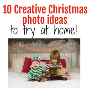 Christmas photography ideas you can do at home, great ideas for holiday cards featuring kids and siblings.
