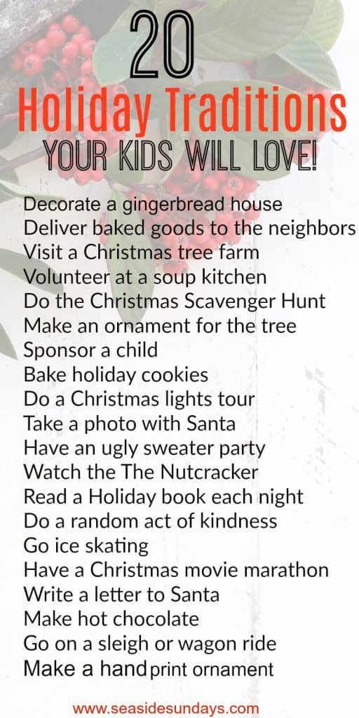 Christmas Traditions for kids. Holiday Bucket list of fun family activities. #holidaytraditions #christmastraditions #christmascrafts #holidays #christmas #bucketlist
