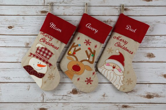 Christmas stockings from Etsy -Baby's first Christmas traditions. This bucket list for baby's first #Christmas is filled with fun ideas and activities to help celebrate the holidays.