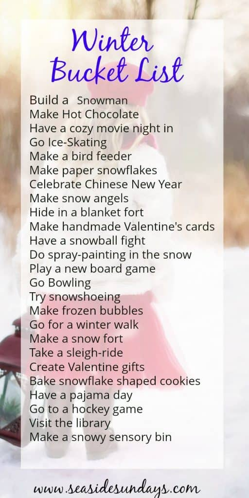 winter bucket list |Frugal things to do with the kids this winter! I always create a bucket list each season and check off the family activities that we do together. This Winter bucket list is perfect and budget-friendly!