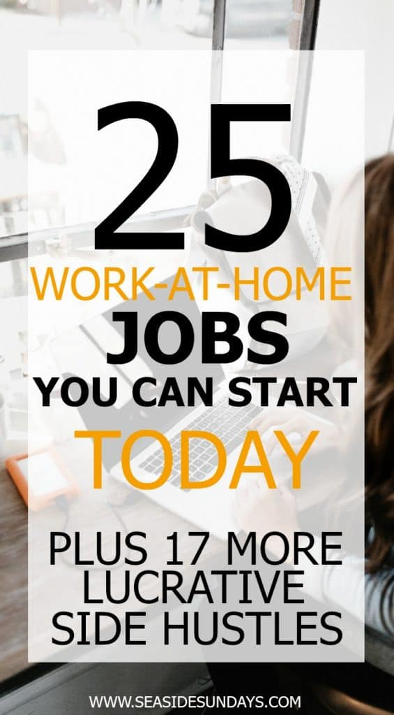 Make money from home with these 80+ ideas. Tons of work at home jobs that would be great for moms or college students. If you want to start making money on the side, there is an option for you in this awesome list of side hustles!