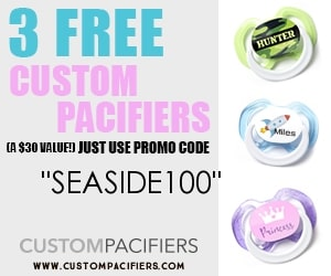 free baby stuff for 2019- use code SEASIDE100 for 3 FREE custom pacifiers