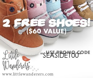 free baby stuff for 2019- use code SEASIDE100 for 2 FREE pairs of baby shoes