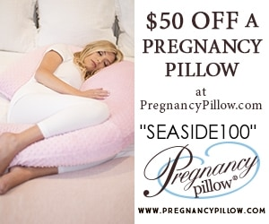 free baby stuff for 2019- use code SEASIDE100 for 50% off a Pregnancy pillow