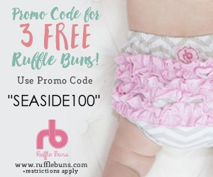 free baby stuff for Canadians for 2019- use code SEASIDE100 for 3 FREE pairs of ruffle bum pants.