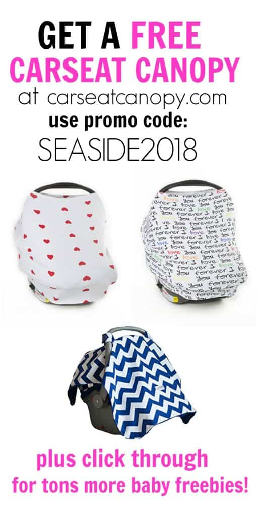 Get A free carseat canopy with promo code SEASIDE2018 at careseatcanopy.com plus click through for over $500 more baby freebies for new moms and babies