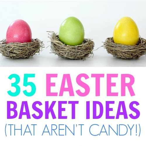This list is FANTASTIC! Great Easter basket ideas for kids that are not candy! Awesome Easter toys & craft ideas for preschoolers and toddlers. Budget friendly Easter Baskets, Easter for toddlers, Easter basket ideas for babies, Teen gifts, Non candy gift ideas