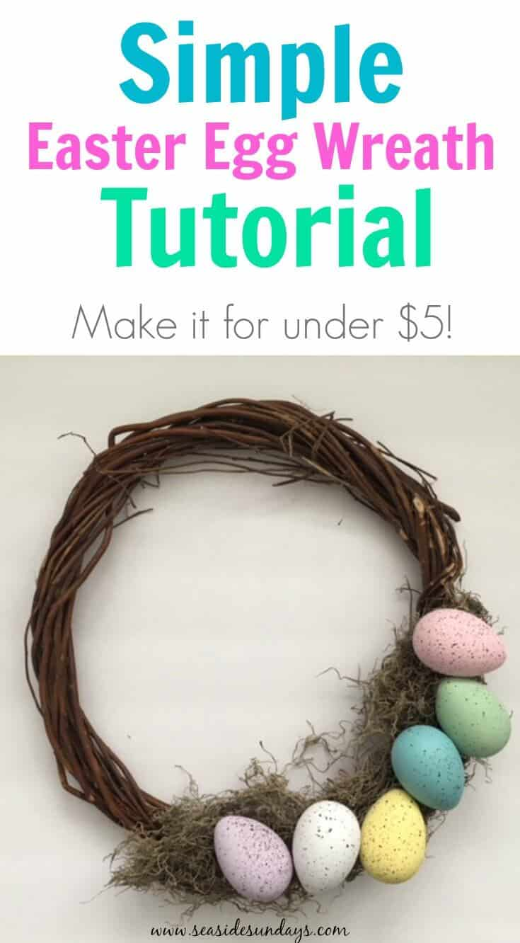 I can't believe you can make this Easter egg wreath for less than $5! This DIY Easter wreath is made from dollar store supplies and the tutorial is so simply to make, anyone can do it! So much cheaper than a store bought Spring wreath.