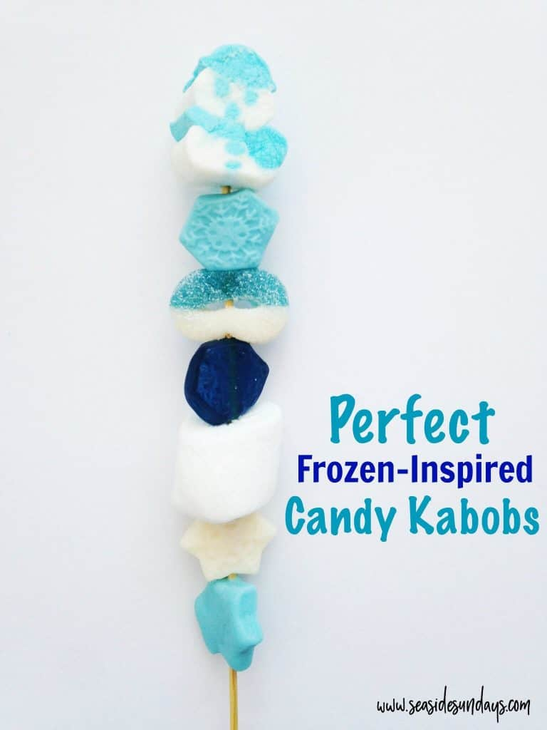 These frozen inspired candy kabobs are so cute! They make great birthday party favors if your kid wants a frozen party or Winter wonderland theme. You can make these candy skewers really easily for any party, I used them for my daughter's Winter Onederland 1st birthday.