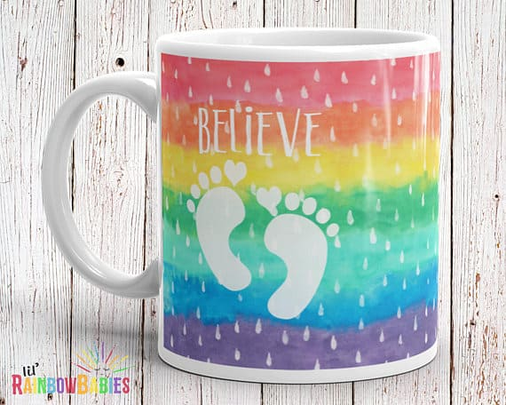 gift ideas for a friend struggling with infertility - rainbow baby mug