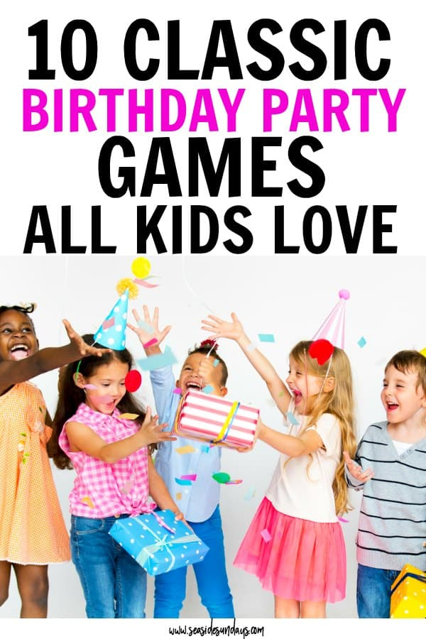 Traditional birthday party games for kids. The best retro party games like pin the tail on the donkey and pass the parcel. How to throw a great kids birthday party on a budget and have lots of fun with these old school party games.