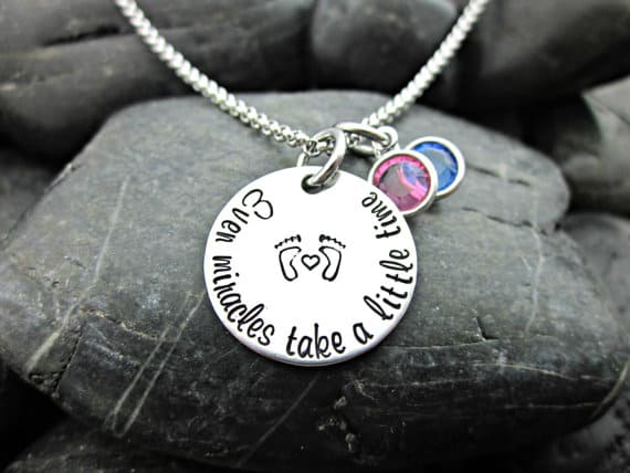gift ideas for a friend struggling with infertility - even miracles take a little time necklace