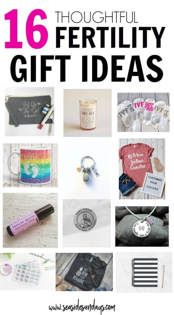 Gifts For Infertility! This is a great gift guide of Etsy fertility products. If you want an IVF planner or fertility t-shirt, this gift guide has the best gift ideas. IVF socks for your egg retrieval and essential oils for fertility.
