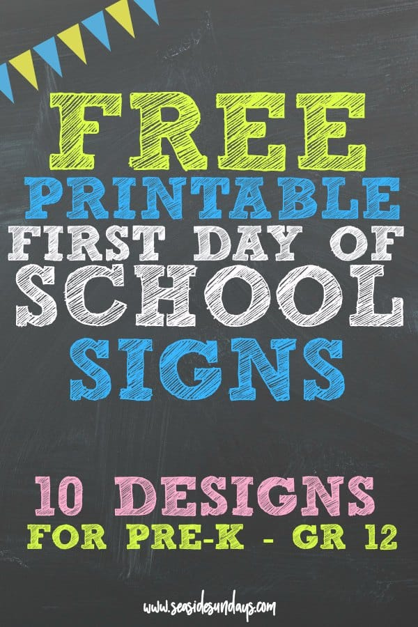 Free printable first day of school signs. These free printable back to school signs are perfect for photos on the stoop! This is a great round up of the best free printable signs for the first day of kindergarten or any grade.