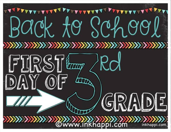 First day of school free printable sign from inkhappi