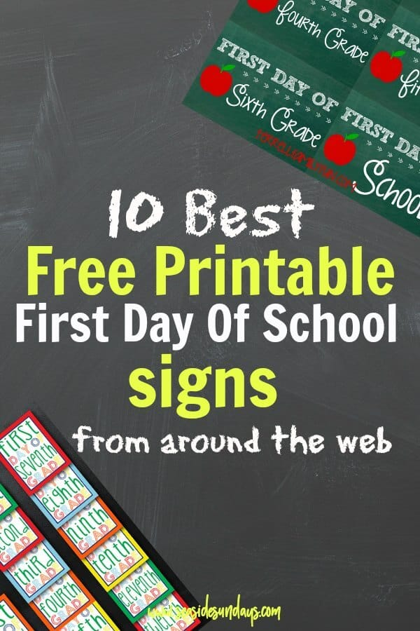 Free printable first day of school signs! These free printable back to school signs are perfect for photos on the stoop!Choose from 10 different designs plus a first day of school interview/questionaire. This is a great round up of the best free printable signs for the first day of kindergarten or any grade. Back to school free printables! width=