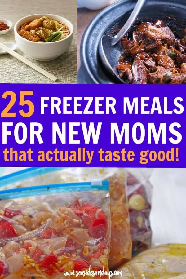 Freezer meals for new moms | great tasting meals for filling up the freezer before baby. Having a hot meal ready to go makes life much easier for a postpartum mom. These make-ahead meals are healthy and great for breastfeeding moms who need to keep their milk supply up. Many of these freezer meals are gluten free, paleo and vegan.