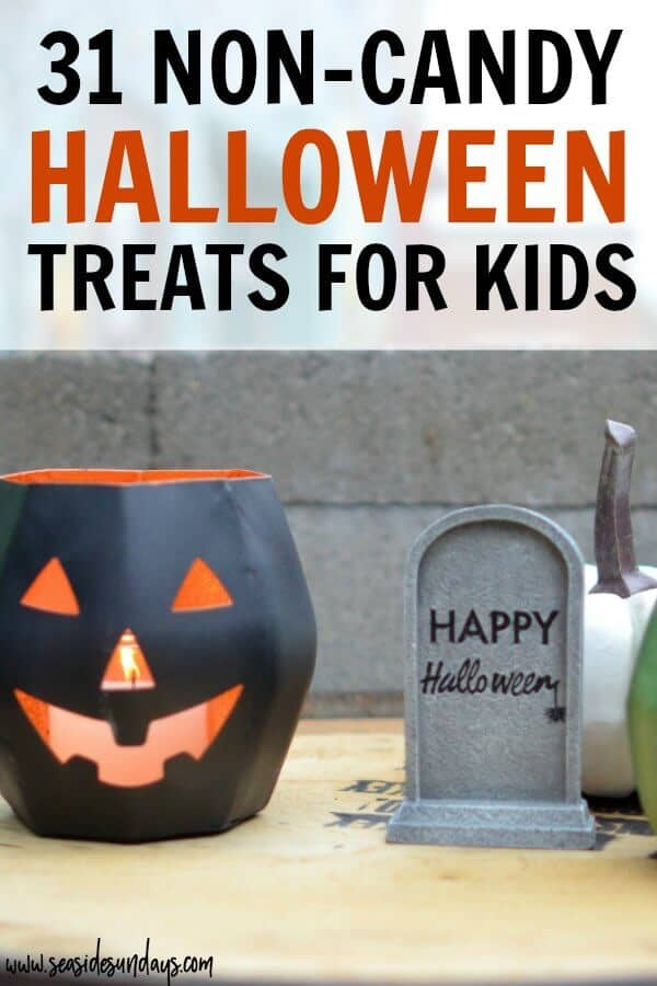 Non-Candy Halloween treats for kids. If you are doing the teal Pumpkin project this year or just want to cut down on sugar, these alternative Halloween favors are great! 31 halloween treat ideas for kids with allergies or dietary restrictions so they can still enjoy trick or treating this year