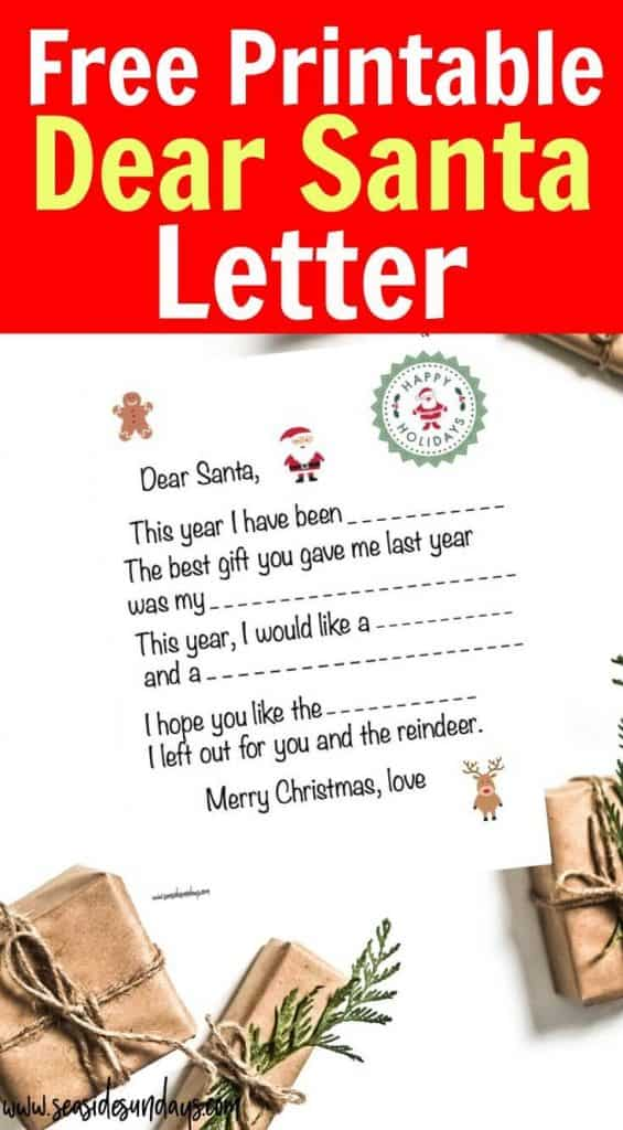 Free Printable Dear Santa letter for kids! Get this blank Santa letter template and send it off to Santa Claus using the address provided - he might even respond! Find out Santa's address in the USA, UK and Canada. This is a great Christmas Free Printable for kids.
