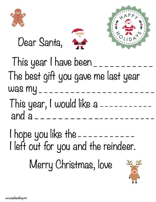 Free Printable Letter To Santa Templates