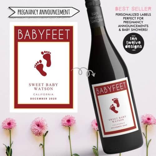 custom pregnancy announcement wine labels