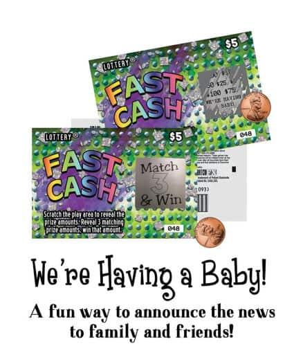 Lottery scratch-offs pregnancy announcement