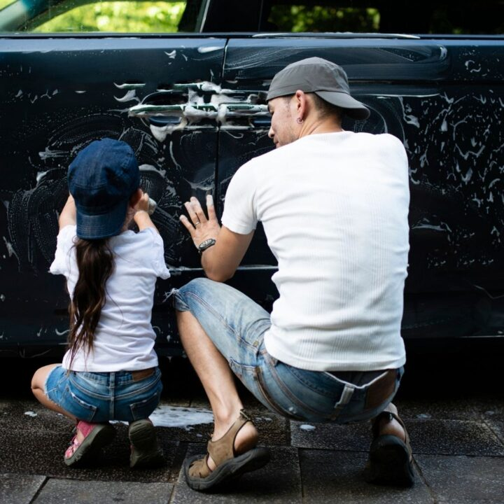 daddy and daughter date cleaning the car