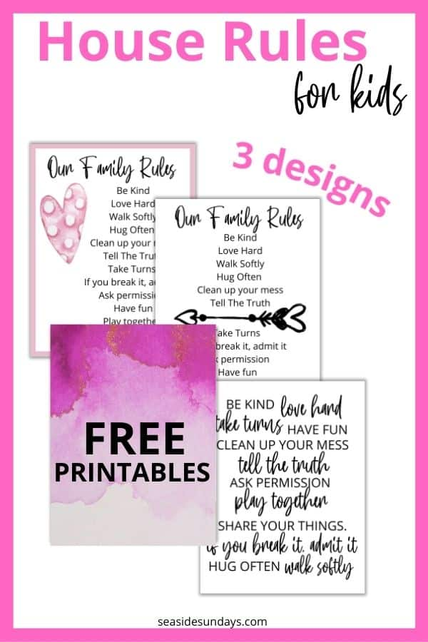 free printable our family rules