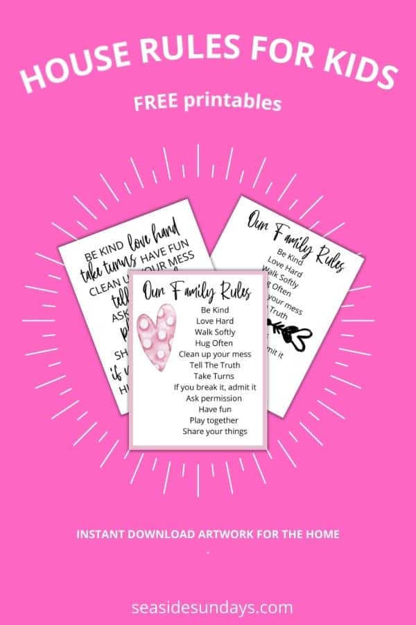 free printable house rules for kids