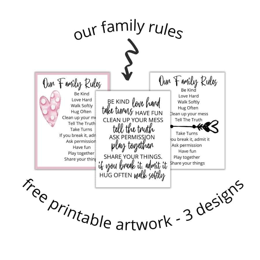 free printable artwork - house rules for families